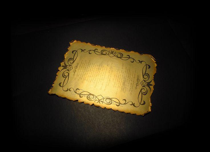 Приглашения на свадьбу. Золотой свиток под старину.: На крыльях вдохновения.