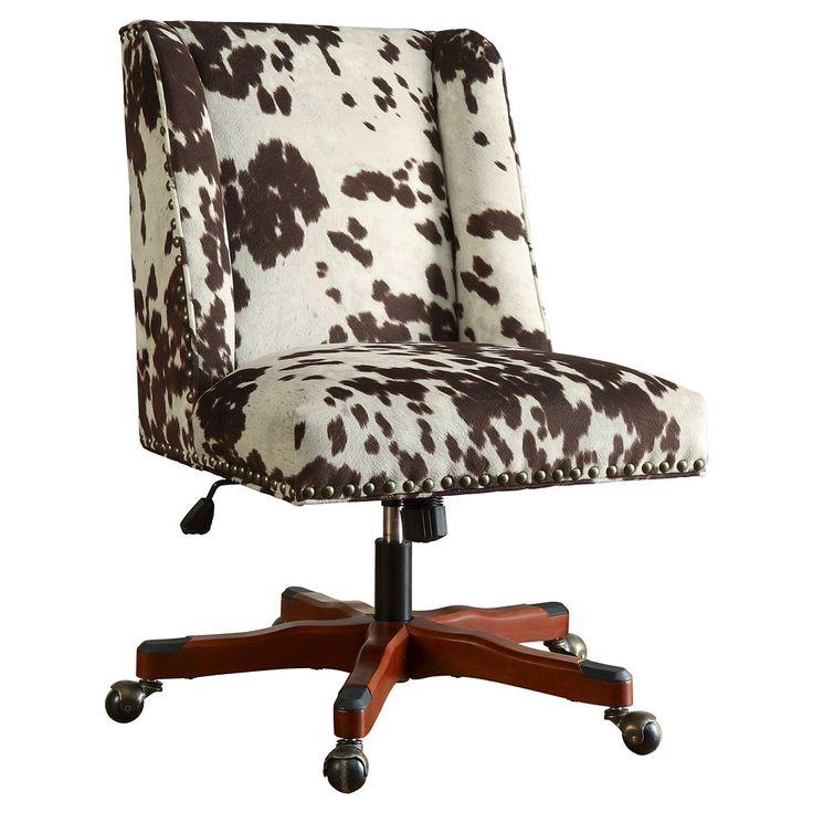 Draper office chair brown cow print linon