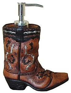 Cowboy Boot Soap Dispenser Pump ~ Features a barbwire accented boot. 5 x 7. Mathing soap dish and toothbrush holder also available.