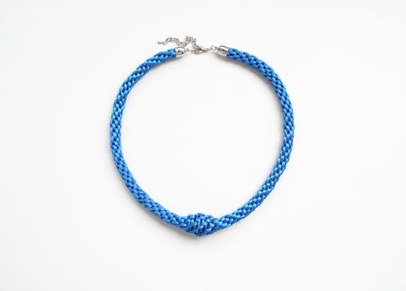 Sky blue kumihimo necklace chunky statement rope by elfinadesign