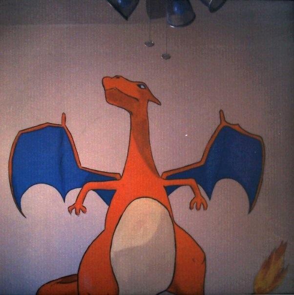 pokemon mural charizard kids room bedroom painting