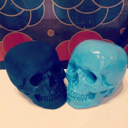#black and #blue #skulls by @merrygoroundvintage $25 each #anatomical #anatomy #skull #human #homosapien #biology #science #nature #under #underyourskin #head #brain #capsule #house #protection #macabre #eyesockets #teeth #nostrils #cheekbones #bones #dead