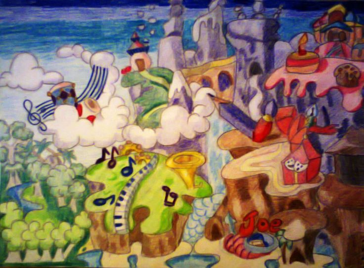 Main Map  It was several days' several hour work, but I'm pretty proud of it. First I thought, it would be impossible. I actually couldn't find enough space in this piece of paper, so had to squeeze the scene a little bit.  Size: B/5 Technic: colour pencil Game: Rayman