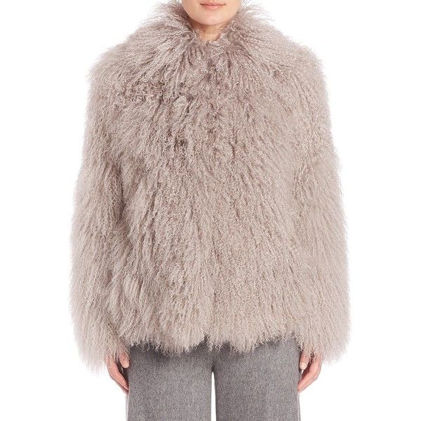 Creatures of the Wind Jujo Mongolian Lamb Fur Jacket ($2,995) ❤ liked on Polyvore featuring outerwear, jackets, apparel & accessories, grey, gray jacket, long sleeve jacket, short fur jacket, grey jacket and grey fur jacket