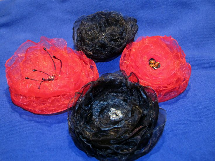 black and red organza flowers
