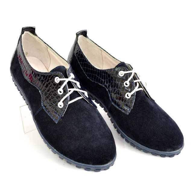 Женские синие туфли на шнуровке, натуральный замш и лак рептилия, фото 5