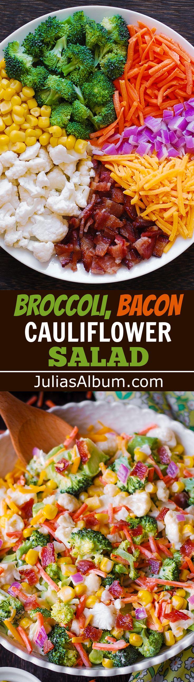 Creamy Broccoli, Cauliflower, Corn, Bacon Salad with Sliced Carrots, Diced Red Onions, and shredded Sharp Cheddar Cheese. #sidedish #holidays