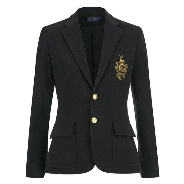 Polo Ralph Lauren Women's Custom Blazer - Polo Black ($375) ❤ liked on Polyvore featuring outerwear, jackets, blazers, black, embroidered jacket, black blazer, polo jackets, black jacket and black polo jacket