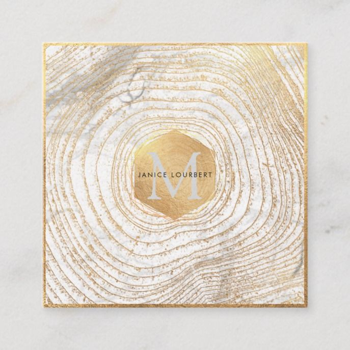 Pixdezines Monogram Faux Gold Tree Rings Square Business Card