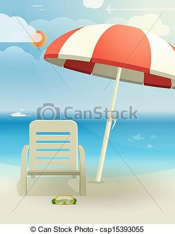 Sketches Of Beach Chairs | Clipart Vector Of Beach Landscape With Chair And  Umbrella Csp15393055 .