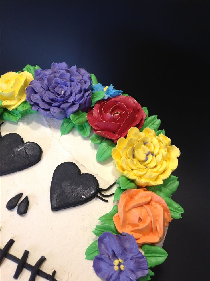 Swiss meringue buttercream flowers, filled with m and m's!