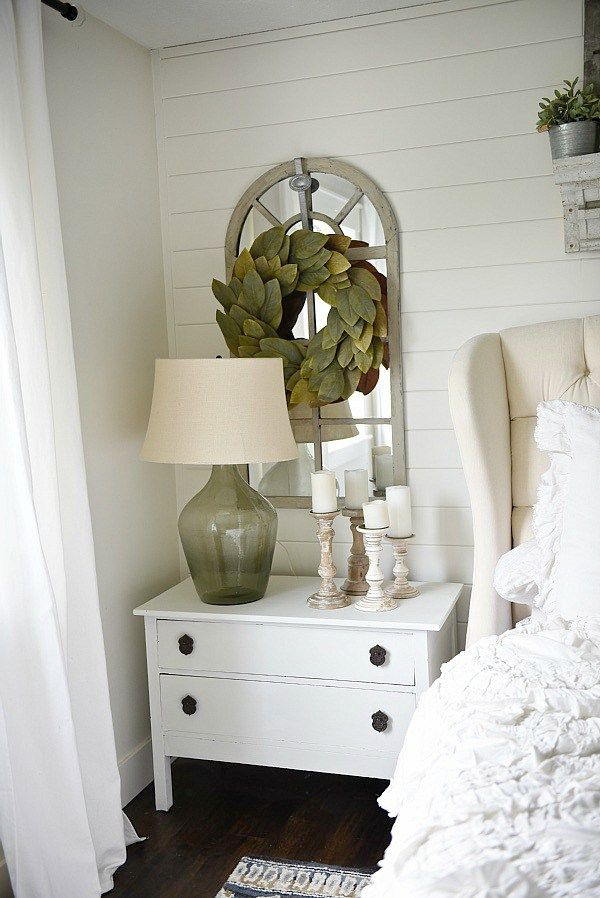 One Horn White Nightstand Makeover Blogger Home Projects