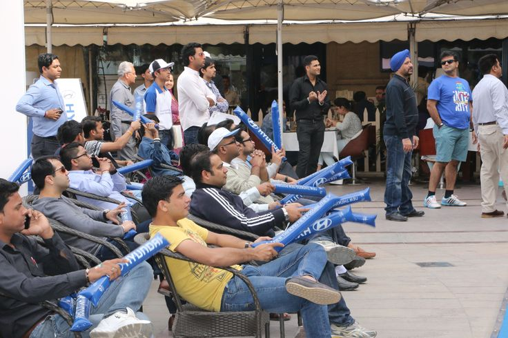 Fans enjoying the live telecast of India vs UAE of the ICC Cricket World Cup 2015 at Hyundai Fan Park at the DLF Promenade Mall, New Delhi.