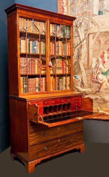 An English antique Secretaire Bookcase