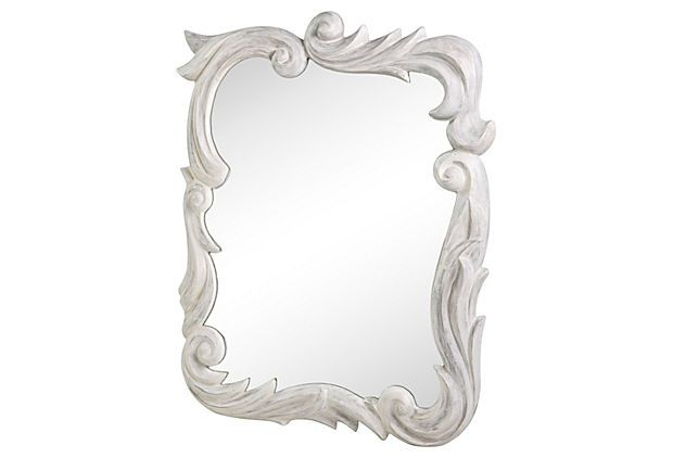 1940s theatrical plaster mirror with leafy flourishes and curlicues in a gray and white washed finish. Wire for hanging.