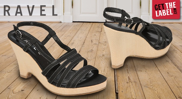 Slip on a pair of stylish black wedges and look the part this summer – save 63% on a pair of Ravel Elsa Wedge Shoes. With the strap design and white stitching detail, these chic sandals are perfect for warm evenings