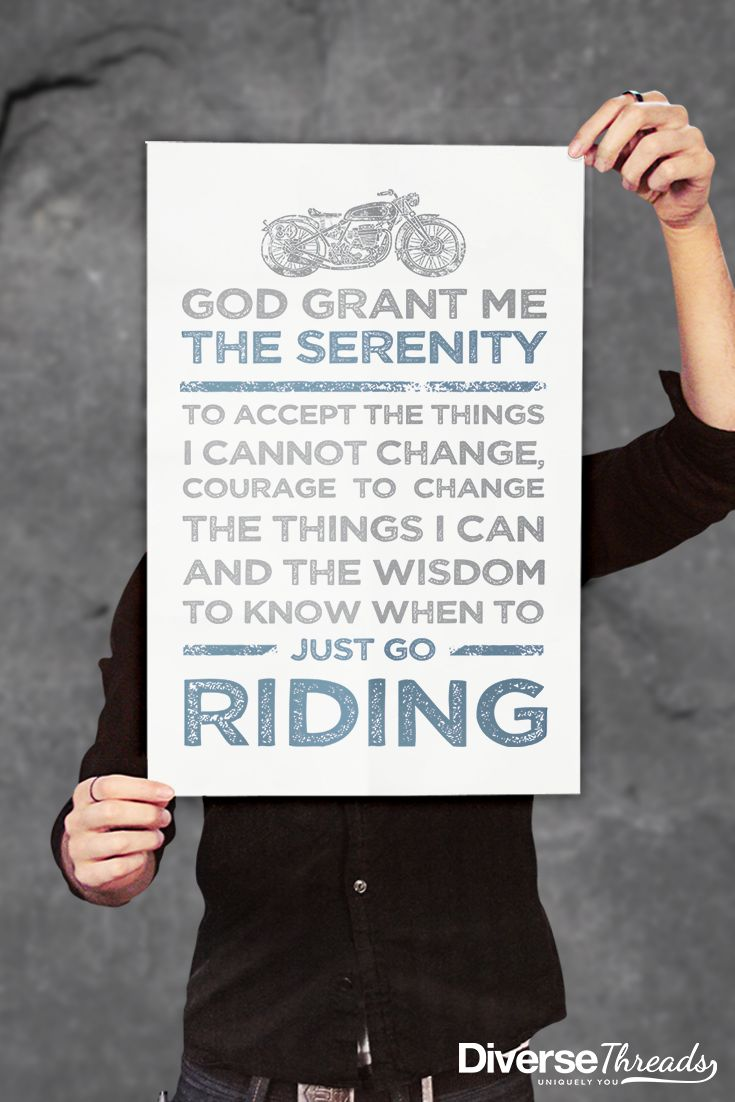 If you live to ride motorcycles, this empowering poster is for you. Get one here - https://diversethreads.com/products/motorcycle-serenity-poster