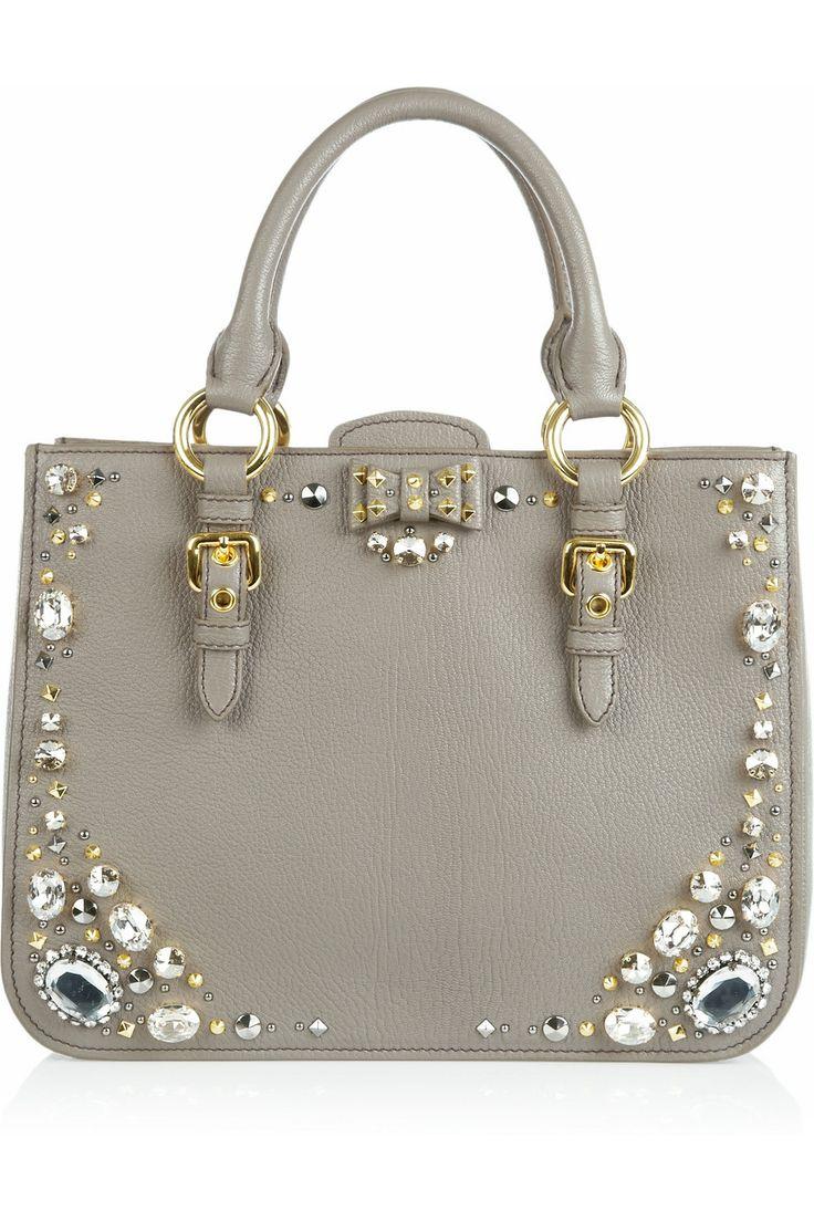 Miu Miu|Crystal-embellished studded leather tote: Miu Crystal Embellished, Handbags, Style, Leather Totes, Miu Miu, Studded Leather, Crystal Embellished Studded