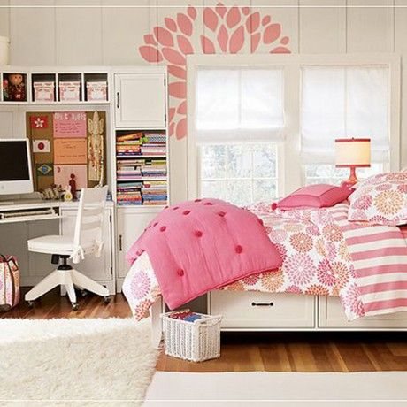 Bedroom : Charming chic girl bedroom come with white stained cornr stuy desk together white modern study chair and bookshelf also white bed with storage drawer plus white fur rug on laminated wood flooring - 15 Study Desk for Pretty Girl Room Decorating