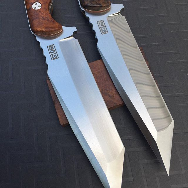 Finished spindrifts, D2 tool steel one with polished bevel one satin  #knives #knifemaker #knifeporn #grayscustom #knifemaking