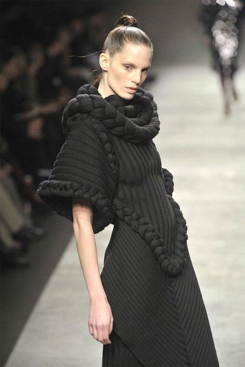 Sculptural Fashion - knitted gown with chunky braided pattern and texture detail