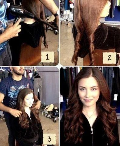 (Cool hair trick - while hair is wet, divide into two twists. Blow dry it. Than pull apart the two twists.