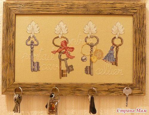 Cross stitch keys on key holder