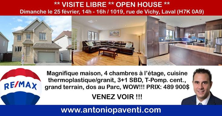 @@ OPEN HOUSE @@ this Sunday, February 25th between 2 - 4 pm... 1019, Vichy, Auteuil (5 minute drive to Gare Ste-Rose)... Come have a look!!! Click here for all the details: https://rem.ax/2o2y8xY