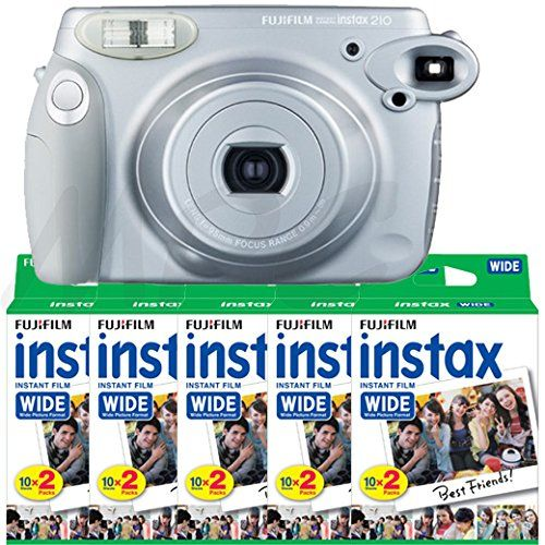 Fujifilm INSTAX 210 Instant Photo Camera Silver and 100 images Wide Film