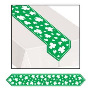 BE30428 - Shamrock Table Runner Table Runner Shamrock (27cm x 182cm) Plastic. Please note: approx 14 day delivery