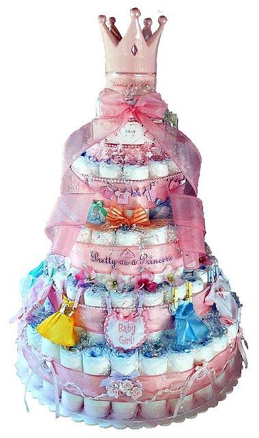 тортик из подгузников для девочки