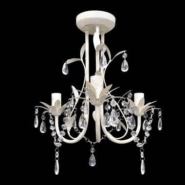 Kristallen kroonluchter met wit elegant design (3 lampen)  30 euro vidalxl