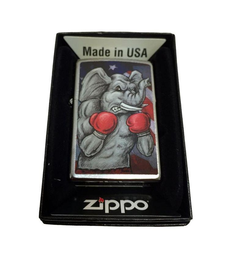 Zippo Custom Lighter Republican Symbol Elephant Boxing Regular Brush Finish New