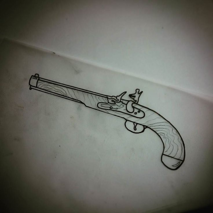 traditional pirate gun tattoo images galleries with a bite. Black Bedroom Furniture Sets. Home Design Ideas