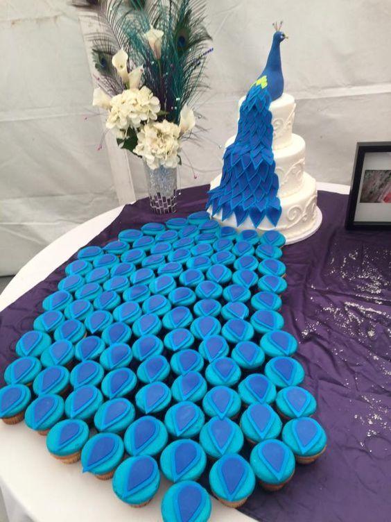 Peacock Cupcake Tower Wedding Cakes Pinterest