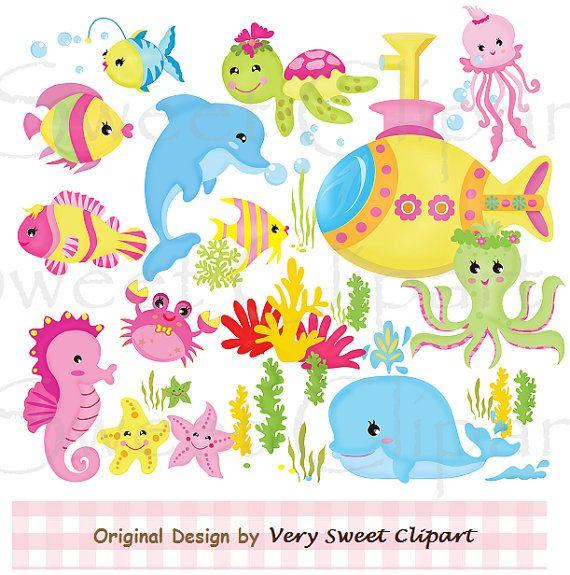 Pink sea animals digital illustration clipart by VerySweetClipart, $2.99