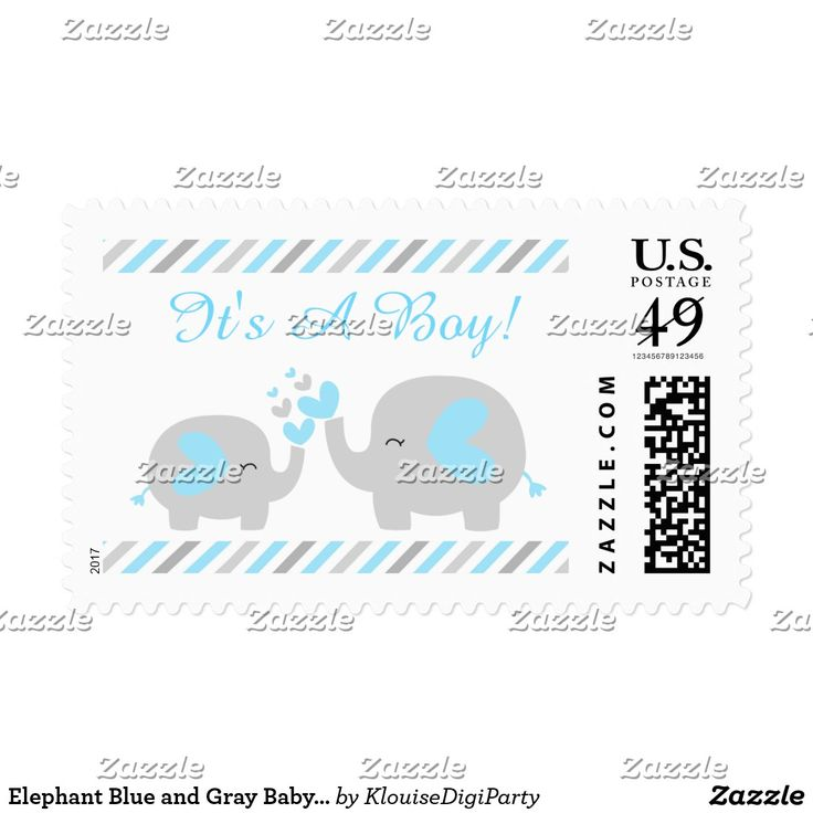 Elephant Blue and Gray Baby Shower It's A Boy Postage