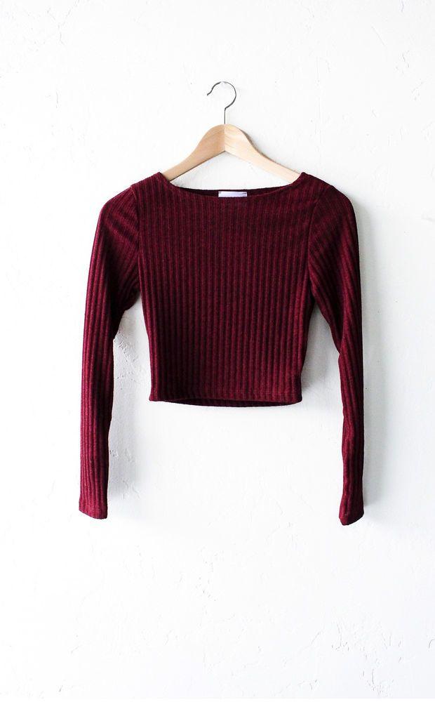 Long Sleeved Ribbed Crop Top - Burgundy