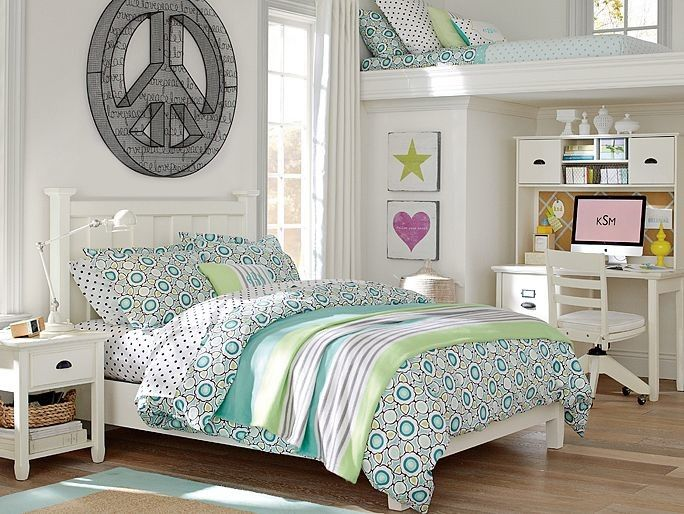 loft beds for teenage girls Peace 3d wall decor white hi light task lamp and cfl bulb chatham classic bed bedside table classic wool border rug dottie sheet set pattern play pillow cover and blanket of Chic and Lovely Loft Beds for Teenage Girls