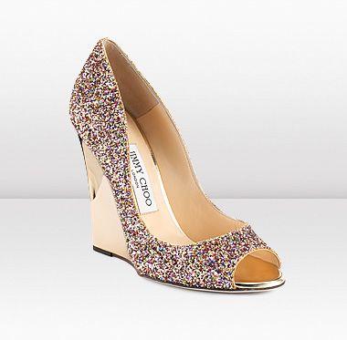 Jimmy Choo   Biel   Golden Multicolour Coarse Glitter Fabric Peep Toe Wedges   JIMMYCHOO.COM