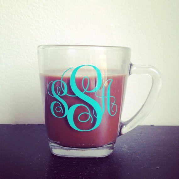 Monogrammed clear glass coffee mug custom coffee mug