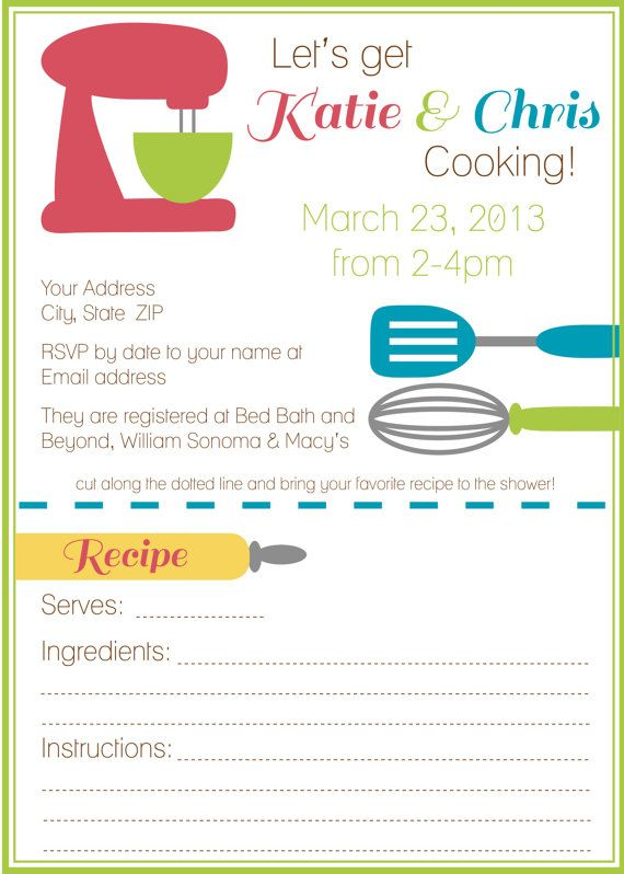 Printable Kitchen Theme Bridal Shower Invitation