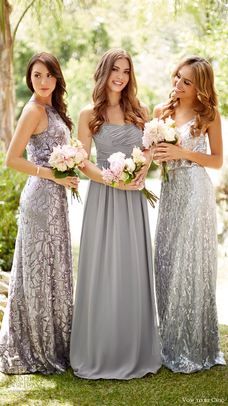 vow to be chic 2016 metallics silver grey gray bridesmaids bridal party bridesmaid dresses for rent