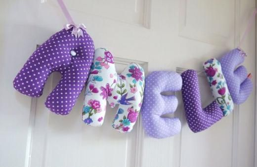 hand-sewn letters to decorate the wall
