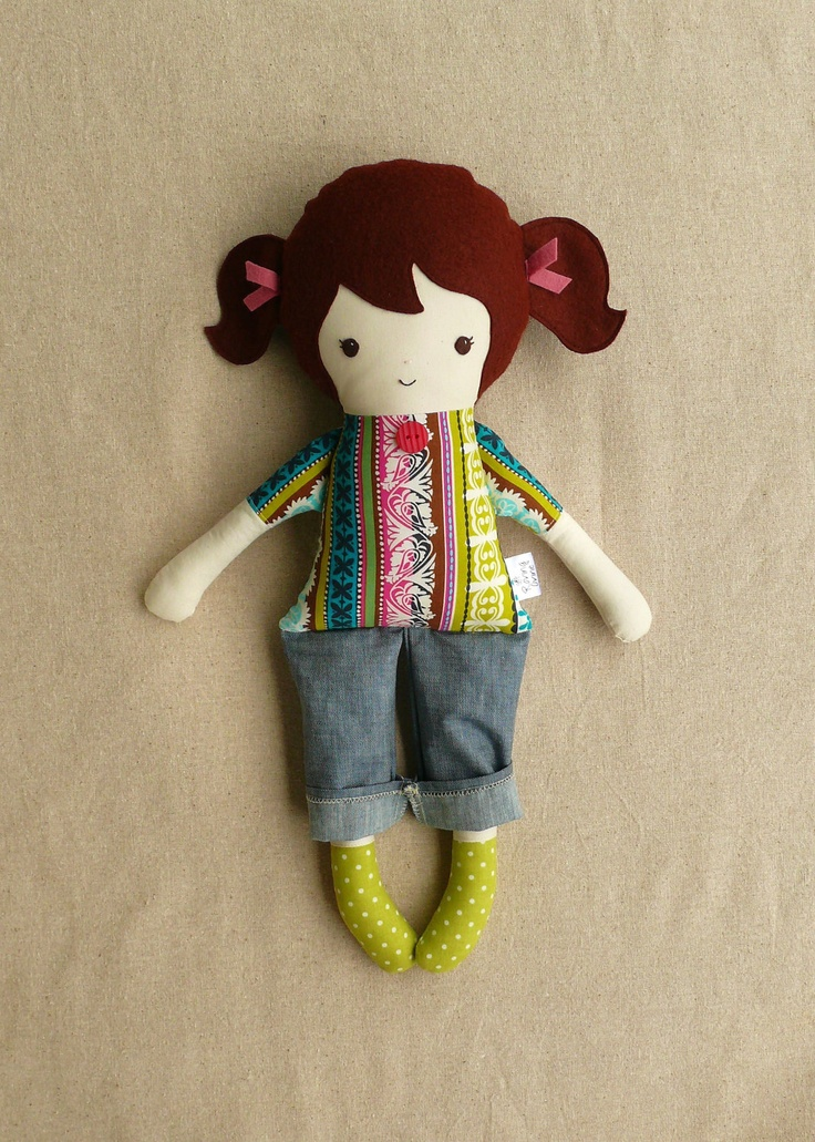 Handmade Fabric Doll Rag Doll in Jeans. $32.00, via Etsy.