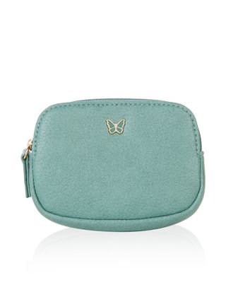 This mini green coin purse is adorned with a small metal butterfly on the front, and has a zip-top fastening.  Just a nice simple purse for my USBs (stocking / cheap gift)