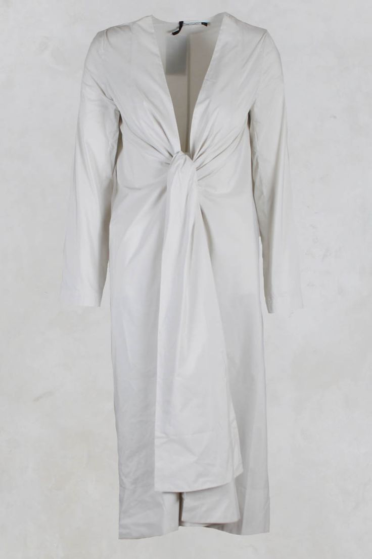 Long Jacket with Tie in Taffeta Cream - Les Filles D'ailleurs
