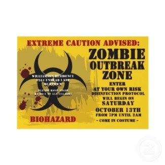 How to Throw a Zombie Halloween Party-cool sign and there's a list of movies at the end