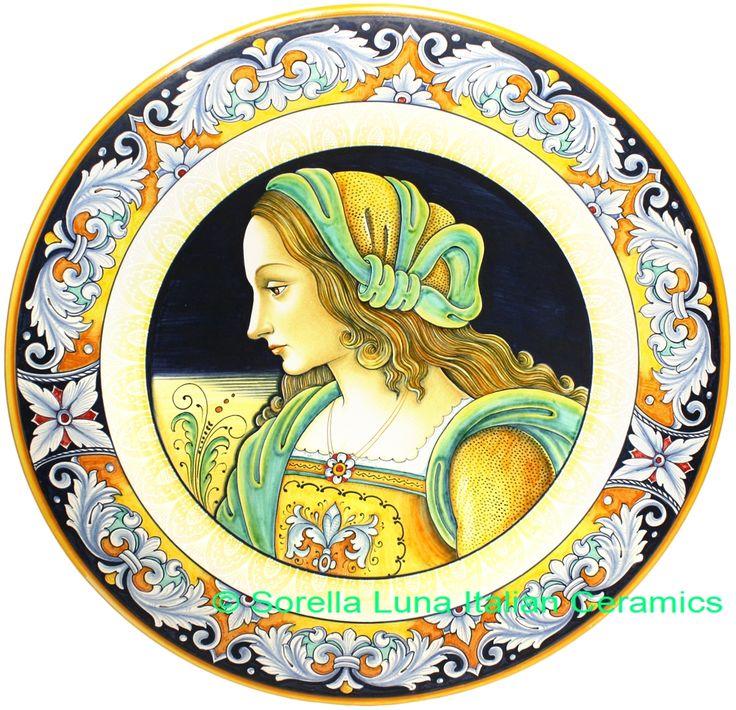 Italian Deruta Majolica Ceramic Portrait Plate | 52cm