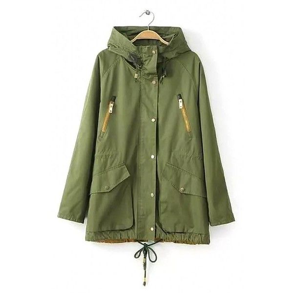 Yoins Yoins Contrast Zipper Parka Coat ($39) ❤ liked on Polyvore featuring outerwear, coats, coats & jackets, green, green hooded parka, hooded coat, zip coat, high collar coat and parka coat